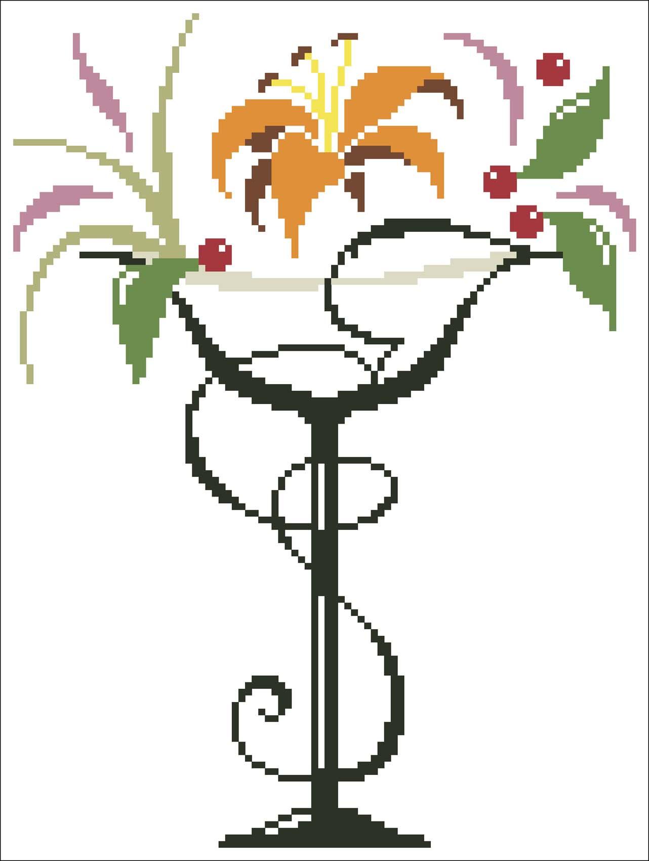 Схема черно-белой вышивки крестом цветы