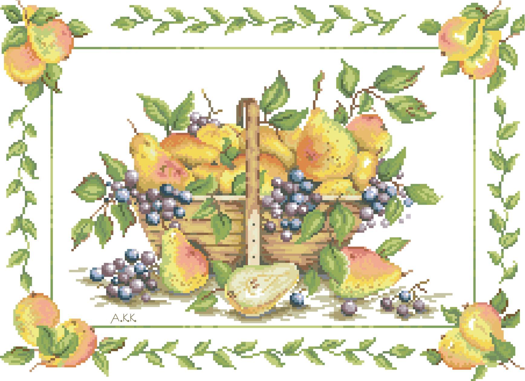 Вышивка крестом схемы цветы и фрукты натюрморты