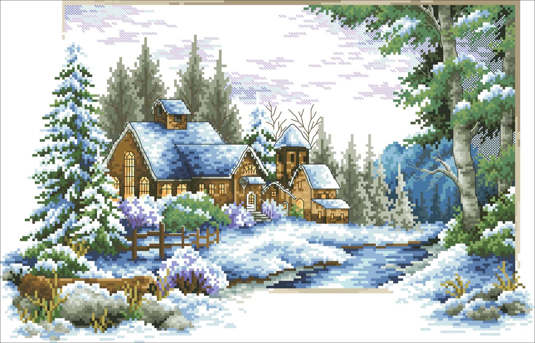 Люди.  Блоги.  Схема вышивки крестом - ''Зимний пейзаж.  Видео.  Войти.